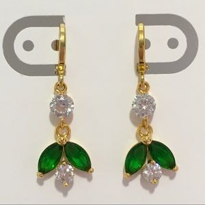 Jewelry - New gold filled dangle earrings green leaves